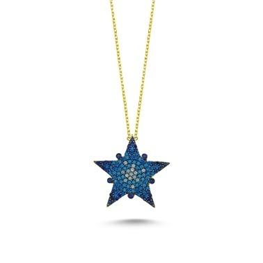 Online Takı Gümüş Yıldız Kolye Renkli